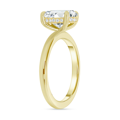 hidden halo oval engagement ring gold