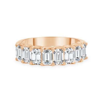 emerald cut half eternity band rose gold