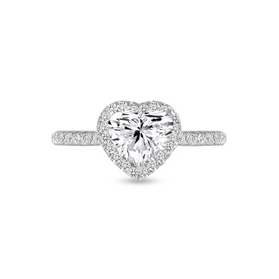 heart shaped & round diamond engagement ring white gold