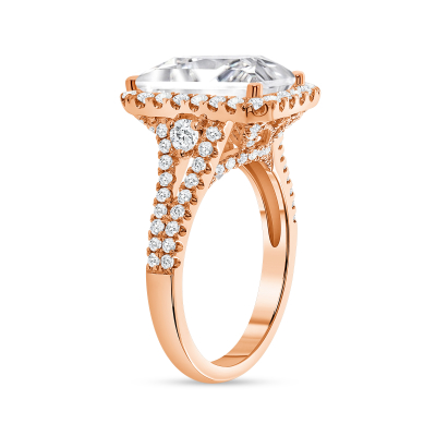 emerald & round diamond engagement ring rose gold