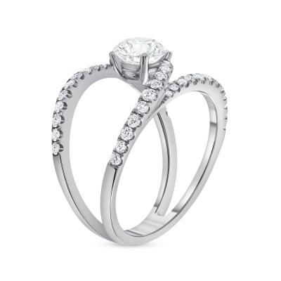split shank round diamond engagement ring white gold
