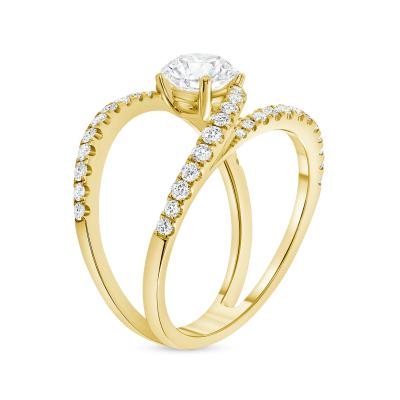 split shank round diamond engagement ring yellow gold