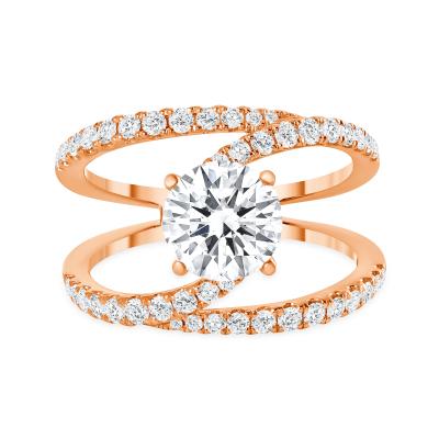 split shank round diamond engagement ring rose gold