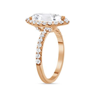 marquise & halo round diamond engagement ring rose gold
