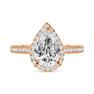 large pear shaped & small round diamond engagement ring rose gold