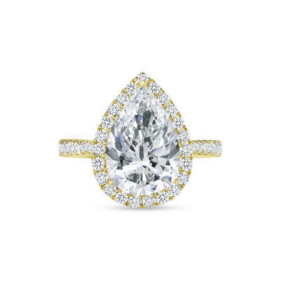 large pear engagement ring gold