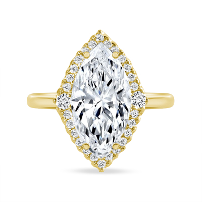 marquise big & small halo round diamond engagement ring yellow gold