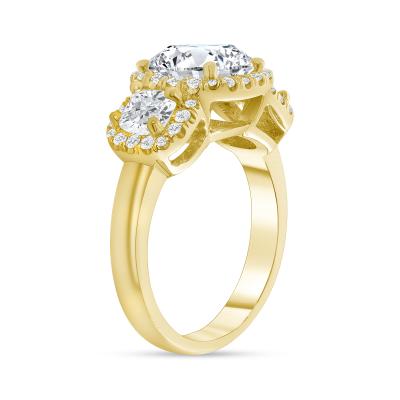 cushion shaped diamond engagement ring gold