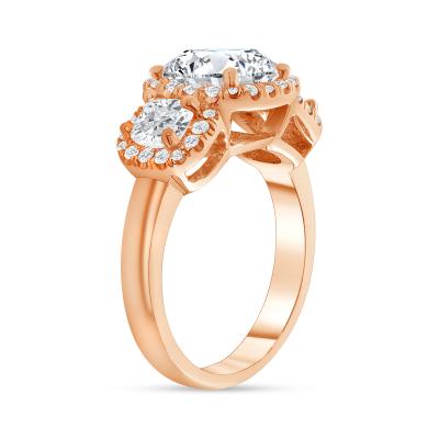 cushion shaped diamond engagement ring rose gold