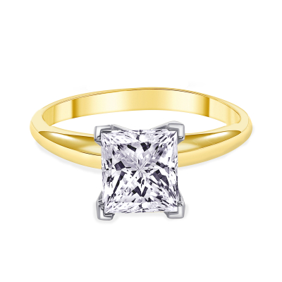 princess cut diamond solitaire engagement ring yellow gold
