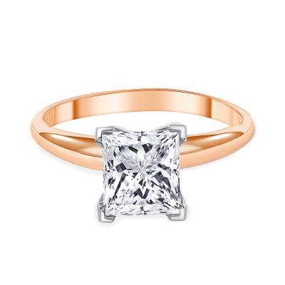 princess cut diamond solitaire engagement ring rose gold