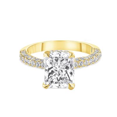 radiant cut diamond engagement ring yellow gold