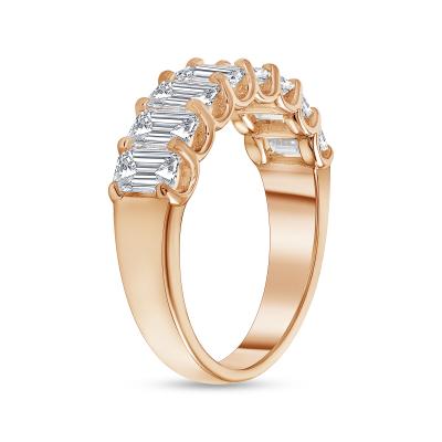 emerald half eternity ring rose gold