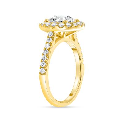 classic halo round diamond engagement ring yellow gold