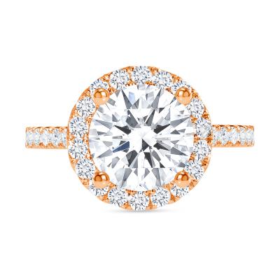 classic halo round diamond engagement ring rose gold
