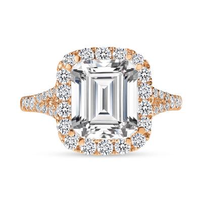 emerald cut diamond halo engagement ring rose gold
