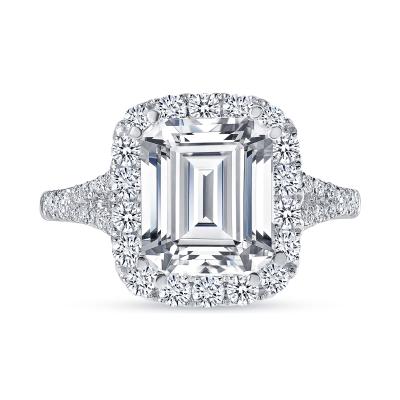 emerald cut diamond halo engagement ring white gold