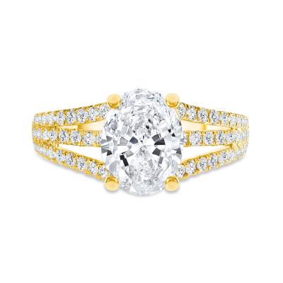 three row engagement ring gold