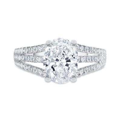 three row engagement ring white gold