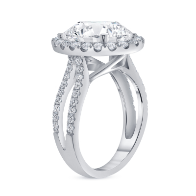 double row oval diamond halo engagement ring white gold
