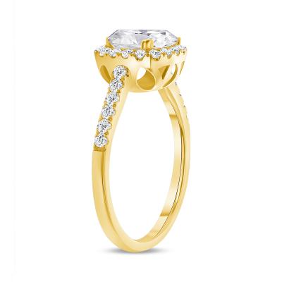 cushion cut diamond halo engagement ring yellow gold