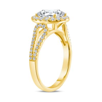 oval diamond halo split shank engagement ring yellow gold