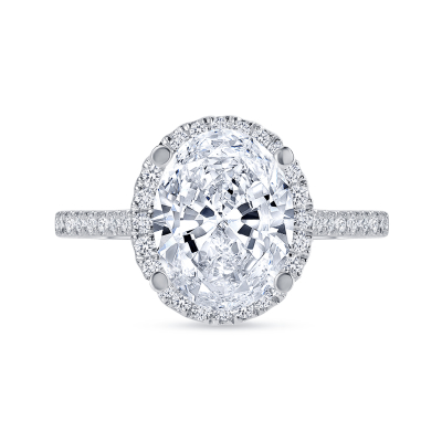 oval cut diamond halo engagement ring with prongs white gold