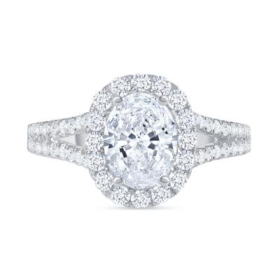 oval diamond halo wide split shank engagement ring white gold