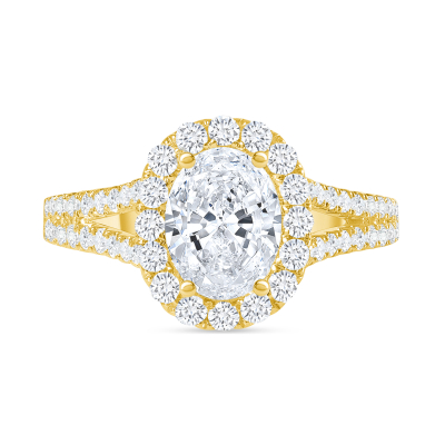 oval diamond halo wide split shank engagement ring yellow gold