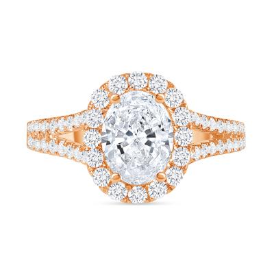 oval diamond halo wide split shank engagement ring rose gold