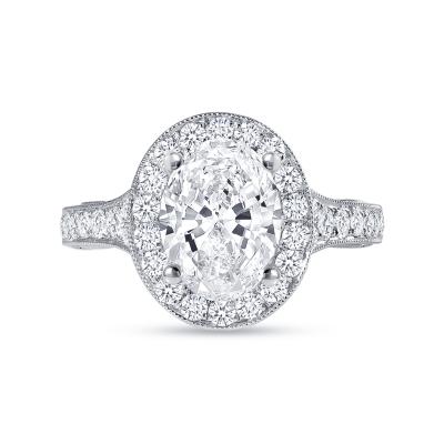 oval diamond halo milgrain engagement ring white gold