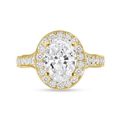 oval diamond halo milgrain engagement ring yellow gold