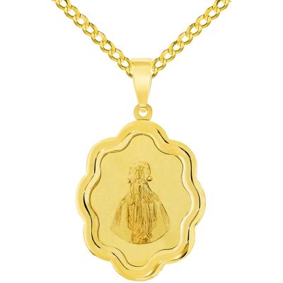 Gold miraculous medal pendant