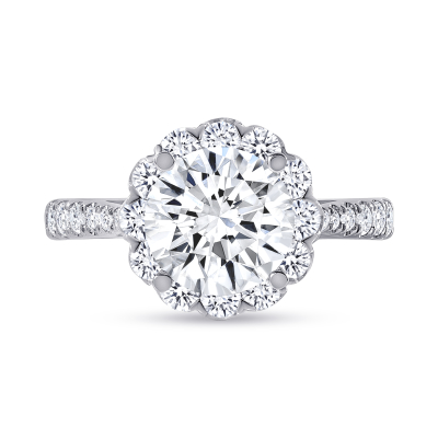 round floral halo round diamond engagement ring white gold
