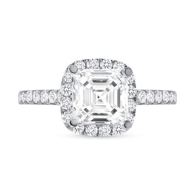 asscher cut diamond halo engagement ring white gold