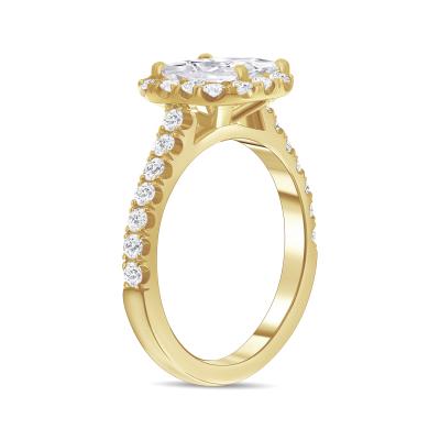 asscher cut diamond halo engagement ring yellow gold