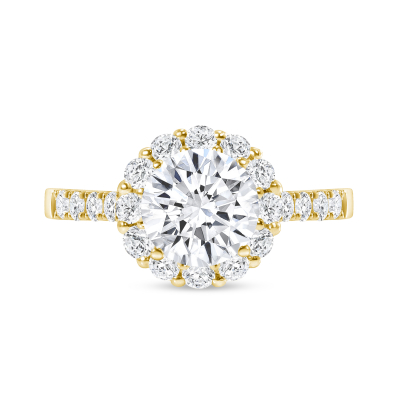 round diamond halo plain engagement ring yellow gold