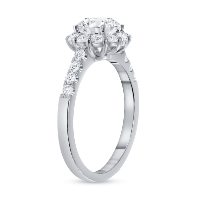 round diamond halo plain engagement ring white gold