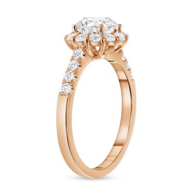 round diamond halo plain engagement ring rose gold
