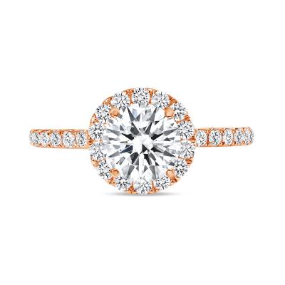 round cut halo diamond engagement ring rose gold
