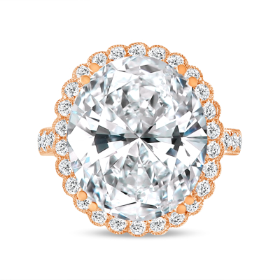 oval cut halo diamond engagement ring rose gold
