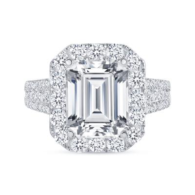 emerald cut halo diamond ring white gold