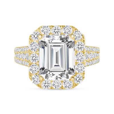 emerald cut halo diamond ring yellow gold