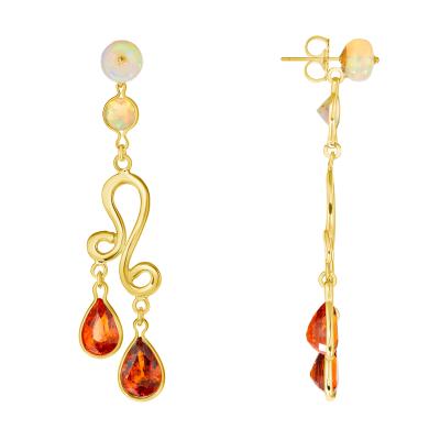 Spessartite and Opal Dancer Earrings