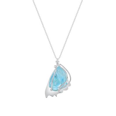 Aquamarine Wing Necklace