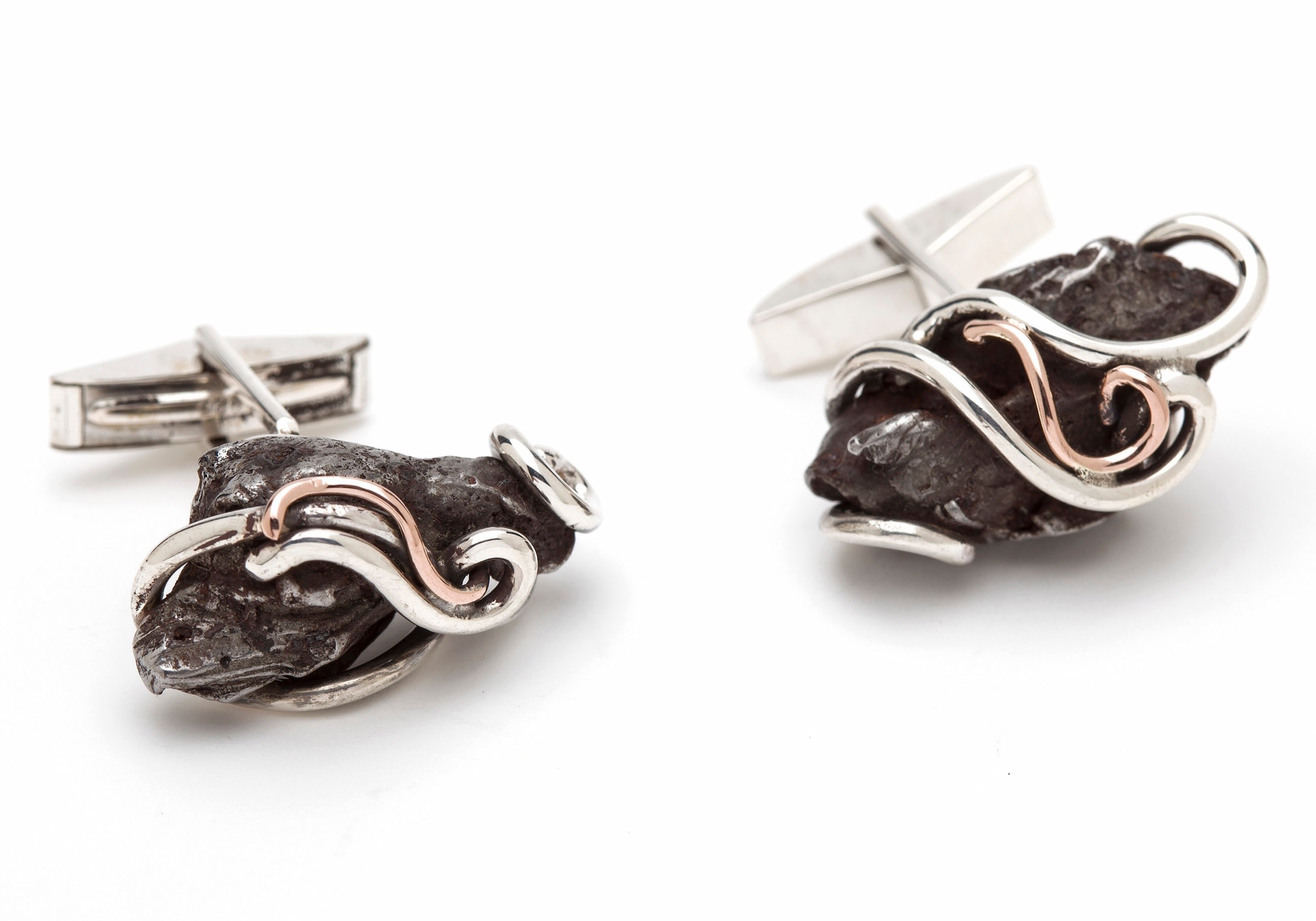 Rose and Silver Meteorite Cufflinks
