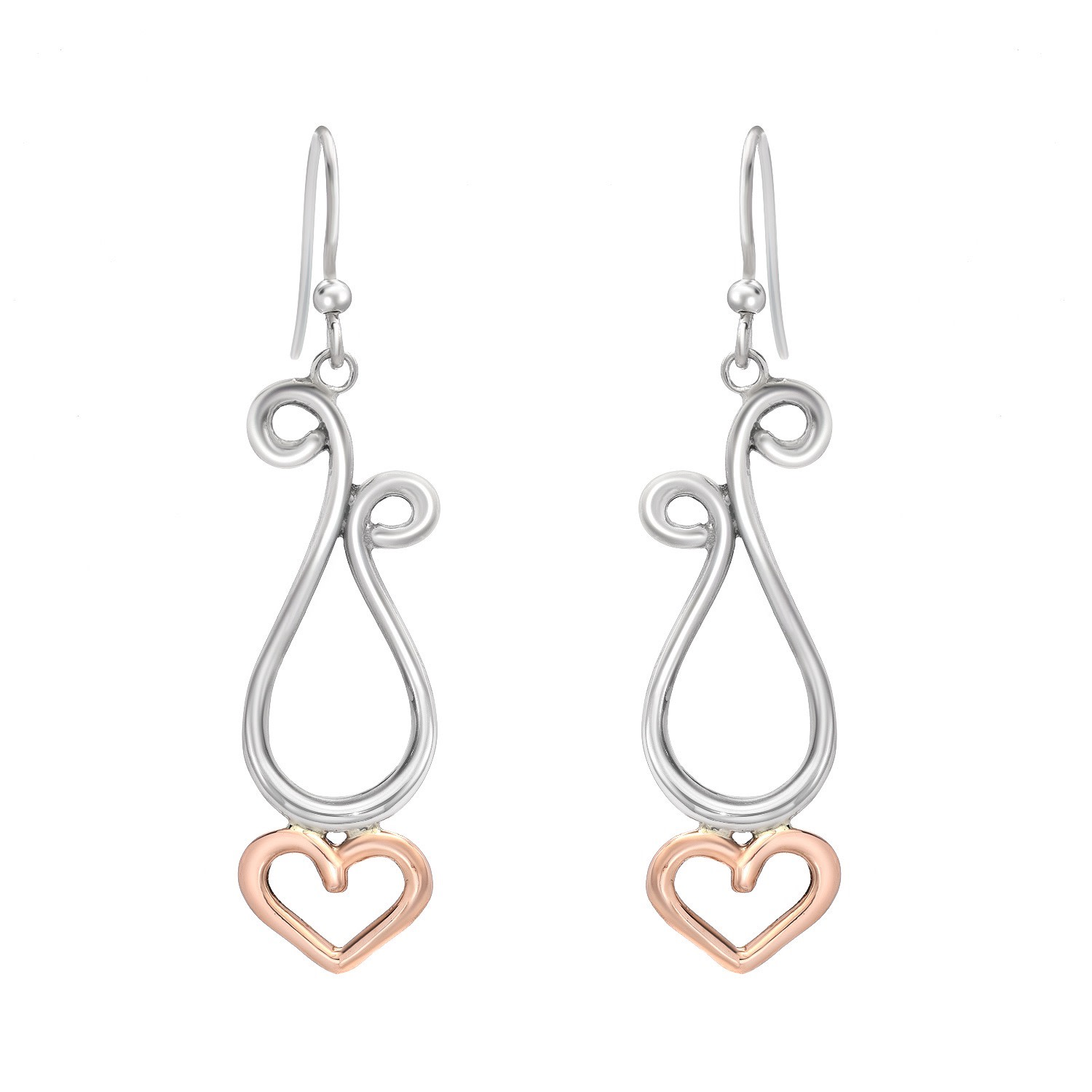 Pink and Silver Dancing Hearts Earrings (Large)