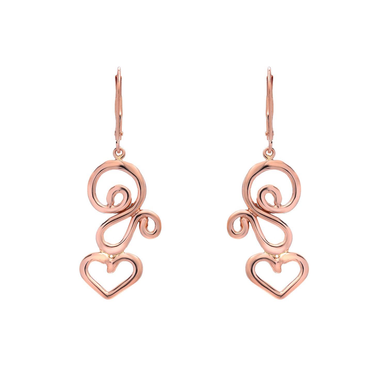 Pink Swirl Dancing Hearts Earrings