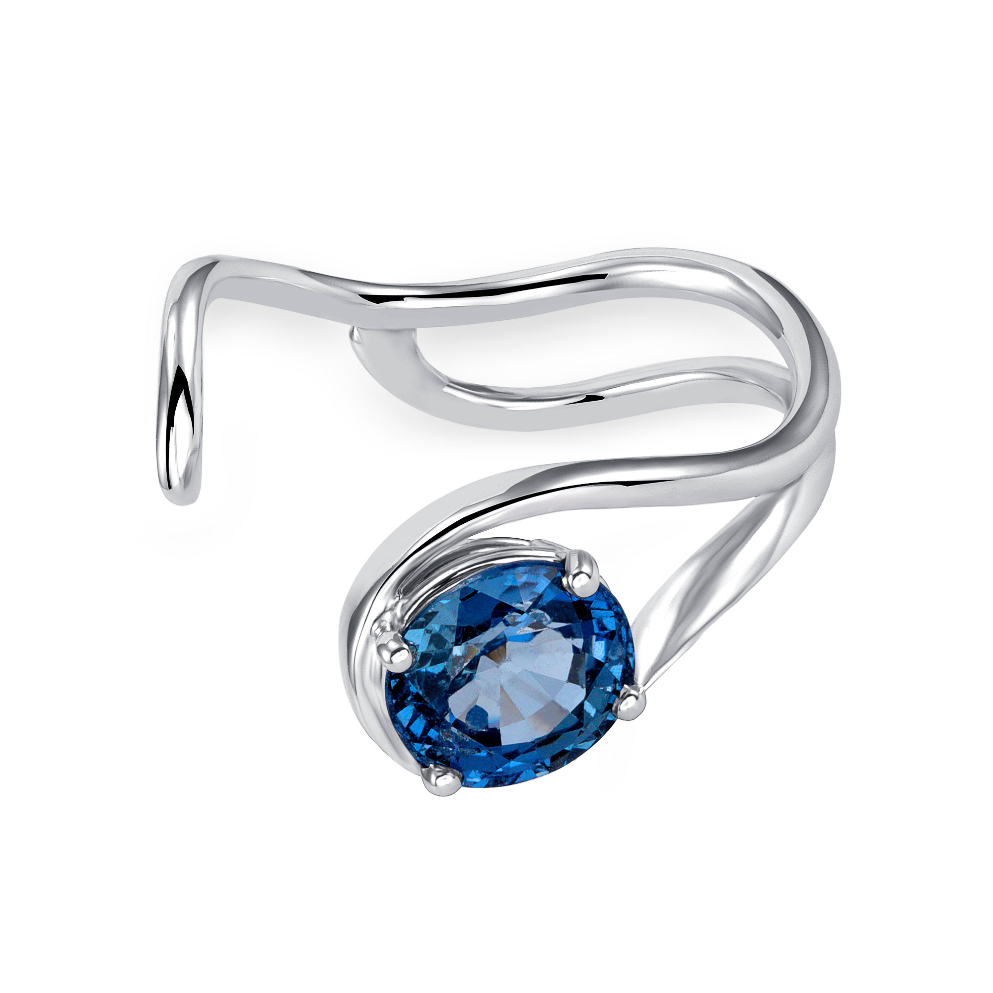Sapphire Wave Wedding Ring Set