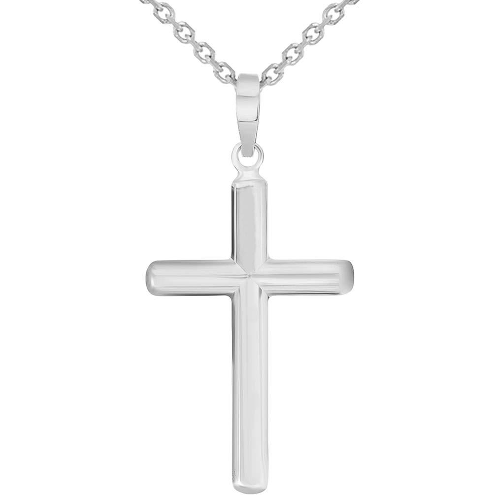 White Gold Traditional Religious Plain Cross Pendant Necklace